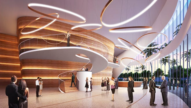 This rendering shows a preliminary concept released earlier this year of the lobby for the new Gulfshore Playhouse theater planned for downtown Naples.