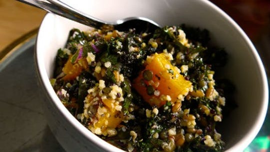 Mixed grains with squash ahd kale.