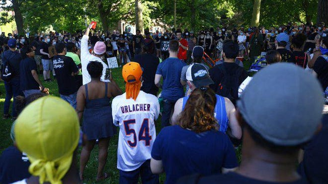Hundreds of people filled Haskell Park in Rockford on Tuesday, June 2, 2020, to protest police violence against black people. It is the second protest since Saturday organized in the aftermath of the killing of George Floyd, a black man who died when a white Minneapolis police officer knelt on his neck for nearly nine minutes.