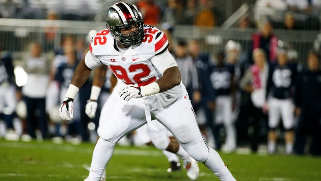 Ohio State defensive lineman Adolphus Washington lines up against Penn State in an October 2014 game.