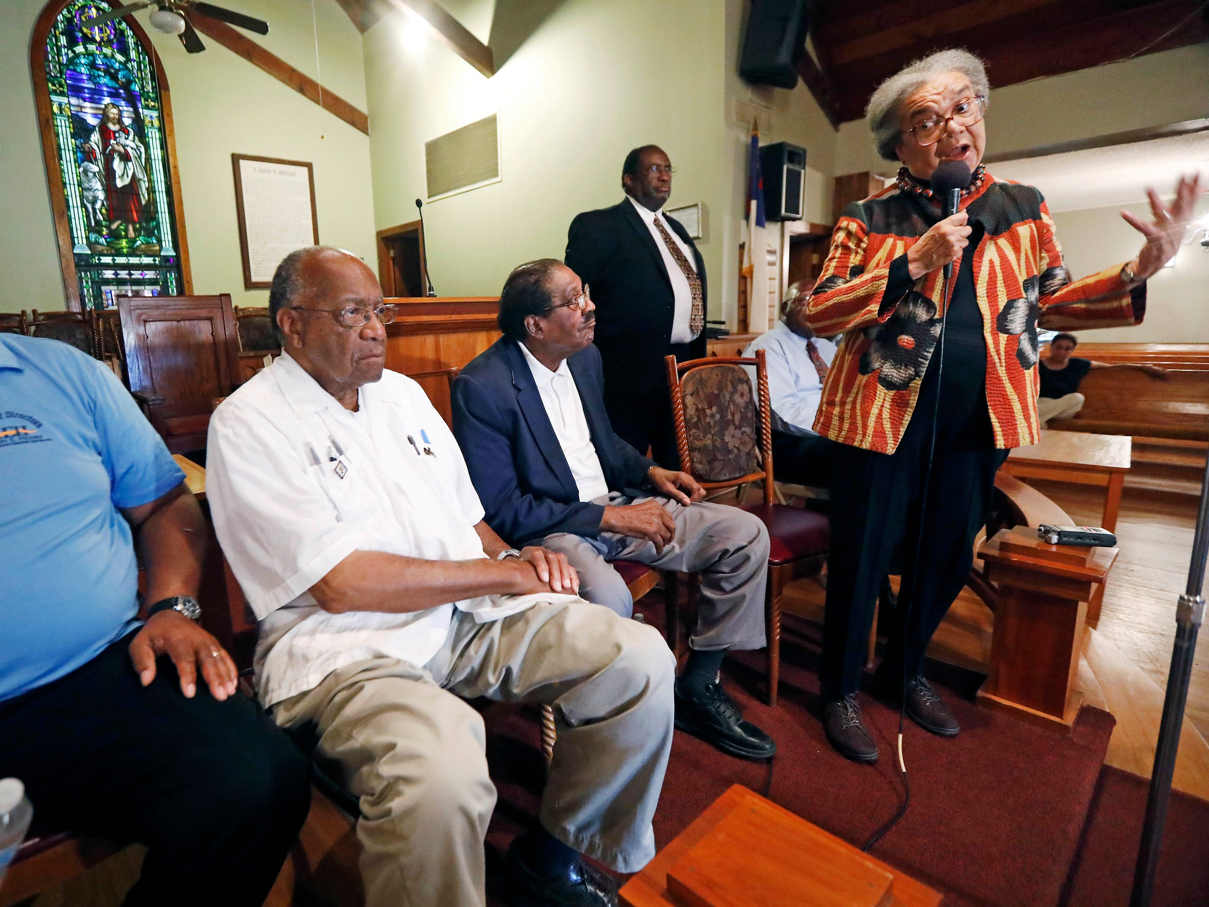 In this July 11, 2017 photograph, Marian Wright Edelman, president and founder of the Children's Defense Fund, a national group that advocates for social services for the poor, addresses elected officials, including from left, state Sens. Robert Jackson, D-Marks, David Jordan, D-Greenwood and retired Rep. Robert Clark, D-Ebenezer, local leaders and some members of the Jonestown, Miss. Edelman recently returned to Mississippi to examine how poverty continues shaping lives.