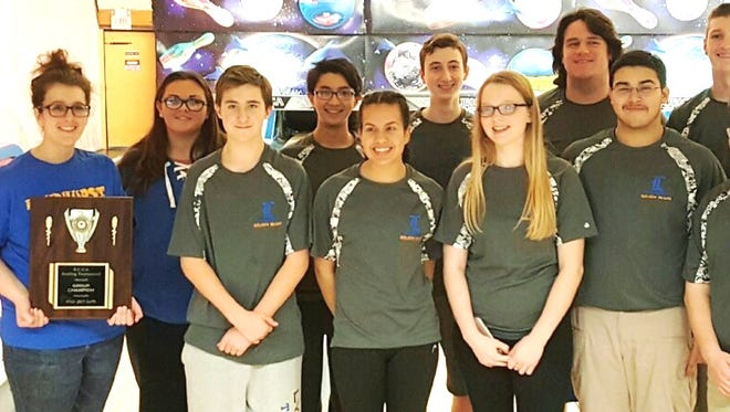 The Lyndhurst bowling team with trophy after Bergen County tournament on Saturday.