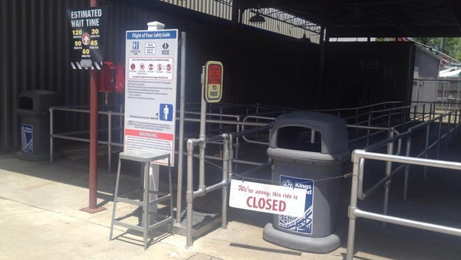 Flight of Fear closed down Saturday after fire crews responded for a nearby electrical panel that was emitting smoke. Damage was contained to the panel.