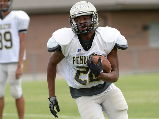 Pickney during the spring football scrimmage game in Pendleton on Friday, May 25.