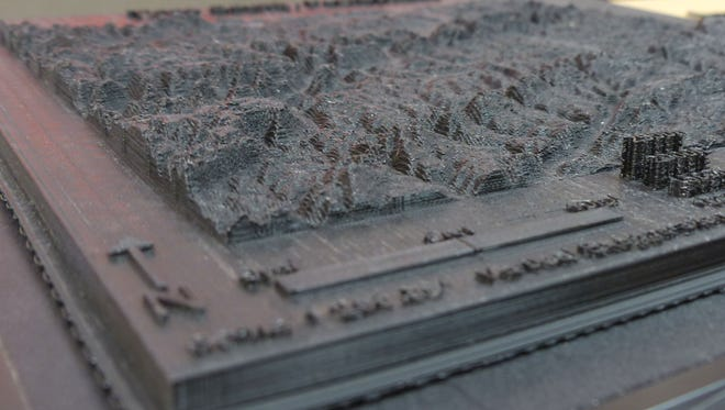 This is section of map of Tioga County, Pa., produced by Mansfield University's new 3D printer.
