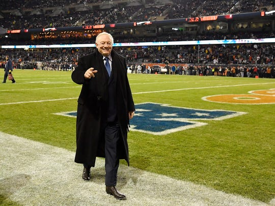 Dec 5, 2019; Chicago, IL, USA; Dallas Cowboys owner Jerry Jones leaves the field prior to the game against the Chicago Bears at Soldier Field. Mandatory Credit: Quinn Harris-USA TODAY Sports