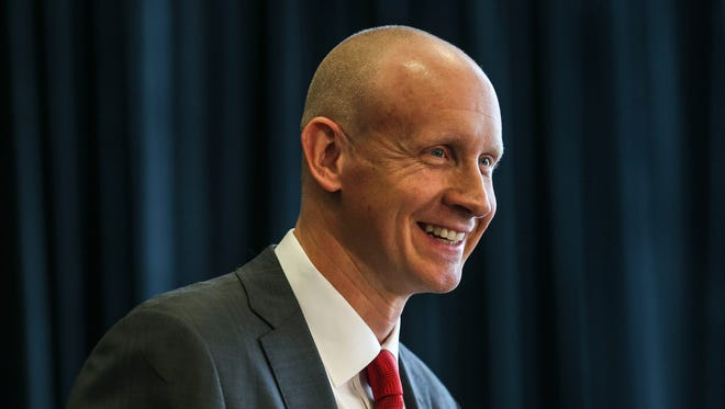 Louisville's Chris Mack said he the only way he'd leave is to retire or be fired as Louisville coach during his introduction at the KFC Yum! Center Wednesday afternoon, March 28, 2018.