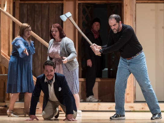 """Encore Theatre members rehearse """"Noises Off"""" on Tuesday,"""