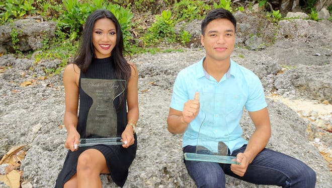 The 2016 Shieh Scholar Athlete winners were from left to right: Regine Tugade and  Brendan Santos. Winners were selected among 17 of Guam's best scholar athletes around the island.