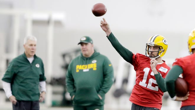 Green Bay Packers quarterback Aaron Rodgers (12) throws during practice at the Don Hutson Center on Wednesday, December 13, 2017 in Ashwaubenon, Wis.Adam Wesley/USA TODAY NETWORK-Wisconsin