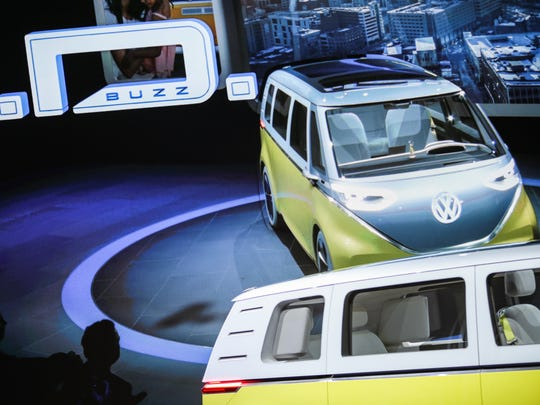 Volkswagen revels the I.D. Buzz concept at the 2017 North American International Auto Show held at Cobo Center in downtown Detroit on Monday, Jan. 9, 2017.