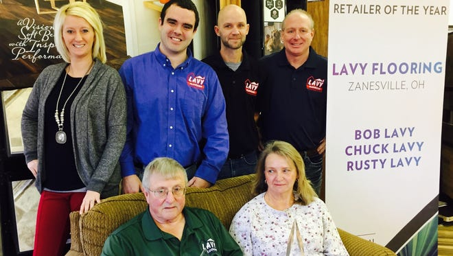 Lavy Flooring was recently named Mohawk National Retailer of the Year. Lavy Flooring, owned by Bob and Brenda Lavy, sitting, has been in business since 1967. Employees, Erin Paisley, Wesley Watts, Dana Lavy and Store Manager Chuck Lavy.