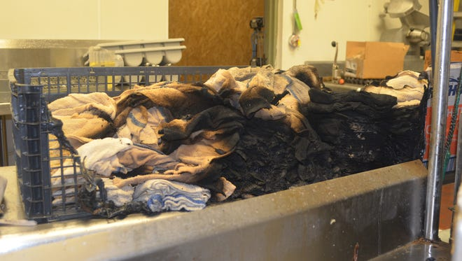 Fire officials determined that the fire originated in the towels.