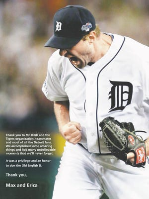 Max Scherzer's full-page ad in the Detroit Free Press' Jan. 25, 2015, edition, page 16C.