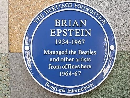Blue Plaque honoring Brian Epstein