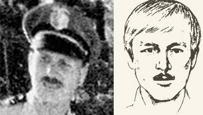 Joseph James DeAngelo in a photo dated back to the 1970s and a police sketch of the Golden State Killer.