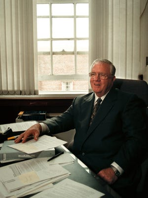 "Harold ""Hal"" M. Lane Jr. in his Statehouse office on July 13, 1999."