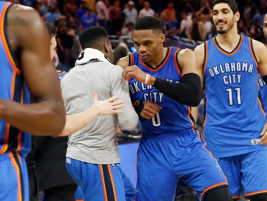 March 29: Russell Westbrook celebrates after setting