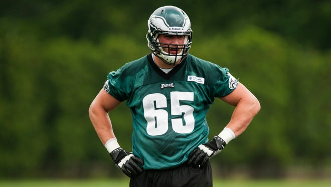 Philadelphia Eagles offensive tackle Lane Johnson (65) during organized team activities at the NovaCare Complex.