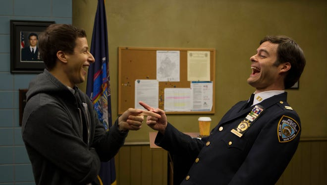 "(L-R) Jake (Andy Samberg) and Captain Dozerman (Bill Hader) in the ""New Captain"" season premiere episode of ""Brooklyn Nine-Nine"" on Fox."