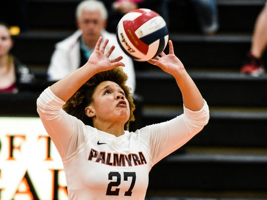 Palmyra's Kirstin West sets the ball as Palmyra defeated Greencastle-Antrim 3-1 in the PIAA District 3 AAA quarterfinals on Tuesday, Oct. 31, 2017.