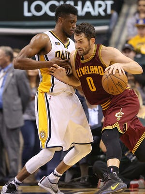 Cavaliers forward Kevin Love pushed past Pacers forward Thaddeus Young on Wednesday at Banker's Life Fieldhouse. At 6-8, 221 pounds, Young is well below the average size of most of the forwards he's matched up against each night.