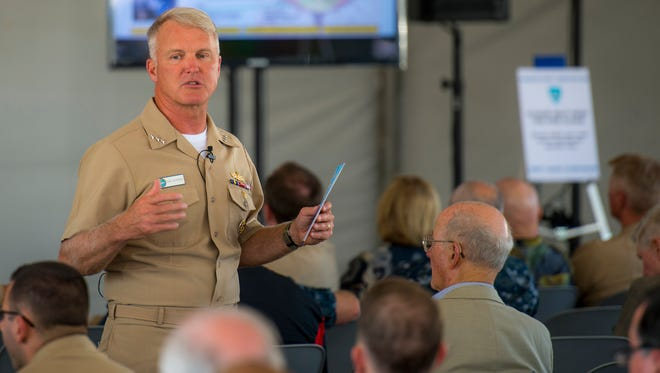 Vice Adm. Tom Rowden, commander Naval Surface Forces, speaks at the Surface Navy Association's annual West Coast conference in July, outlining his vision for the Surface Force.
