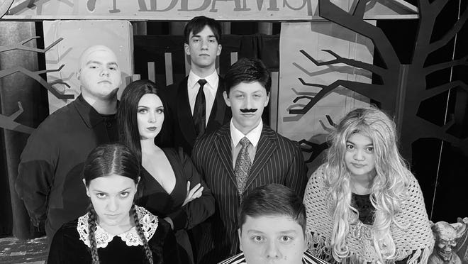 "Cornwall Central High School's cast for its upcoming production of ""The Addams Family"" naturally decided on a black and white photo. Front row: Stephanie Correia , Raymond Capuzzi. Middle row: Laura Castellano, Joshua Sandler, Sofia Castro. Back row: Jack Donlon, Michael Hydos"