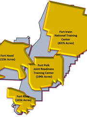 This map shows the Fort Bliss maneuver area compared