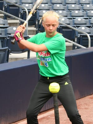 Mesquite's Brooklin Montoya competes in the MLB Pitch, Hit and Run Contest last weekend at Petco Park in San Diego.