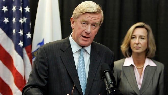 This Nov. 2, 2006, photo, former Massachusetts Republican Gov. William Weld endorses the candidacy of Lt. Gov. Kerry Healey, right, in her bid for the corner office against Democratic gubernatorial candidate Deval Patrick in Boston, Mass. Seizing new fuel for his appeal to Donald Trump's critics, former New Mexico Gov. Gary Johnson has joined forces with another former Republican governor to strengthen his Libertarian presidential bid. Weld, who served two terms as the Republican governor of Massachusetts in the 1990s, will announce plans Thursday to seek the Libertarian Party's vice presidential nomination, Johnson confirmed in a Wednesday interview with the Associated Press.