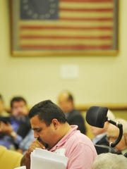 Josue Rodriguez, of the group, Not Dead Yet, listens after speaking during a hearing to legalize physician-assisted death in Tennessee in Legislative Plaza in downtown Nashville, Tenn. June 9, 2015.