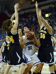 St. Mary's Springs' Kelli Schrauth tries to put back