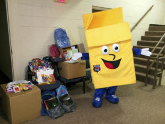 Phillup the Box, U-Stor-It's mascot, shares school