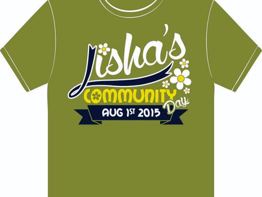 This T-shirt has been designed for Lisha's Community Day, a fundraiser to help Lisha Robertson, who was injured in a crash last September. Those looking to sponsor on the shirt have until June 17.