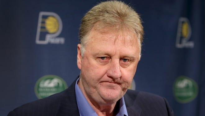 Indiana Pacers president Larry Bird fields questions from reporters during their season-ending press conference at Bankers Life Fieldhouse. The Pacers finished the 2014-15 season 38-44 and missed the playoffs.