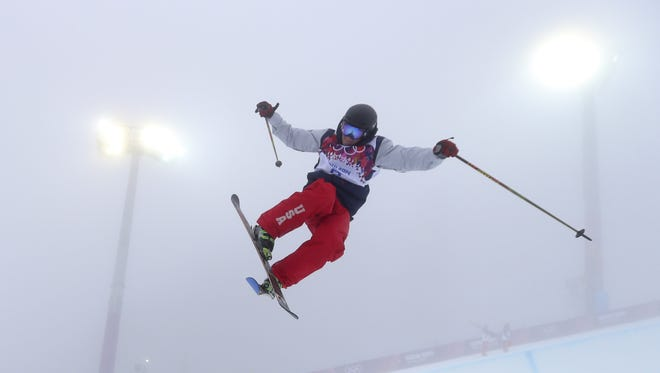 David Wise jumps during a training session on Feb. 17 at the Rosa Khutor Extreme Park, at the 2014 Winter Olympics in Russia. After returning home from the games, Wise said the snowy conditions prevented him from turning in the runs he?d hoped to. No matter; he still took the first gold in the sport. AP file David Wise of the United States  jumps during a freestyle skiing training session in the halfpipe at the Rosa Khutor Extreme Park, at the 2014 Winter Olympics, Monday, Feb. 17, 2014, in Krasnaya Polyana, Russia. (AP Photo/Sergei Grits)