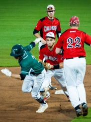 Parkside first baseman Grant Burleson (3) is caught