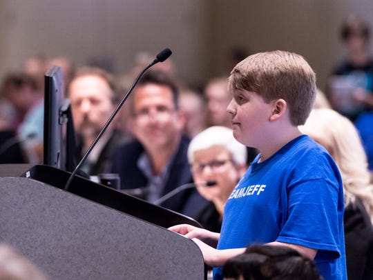 Actor Josh Zsido, 13, speaks to the Visalia City Council