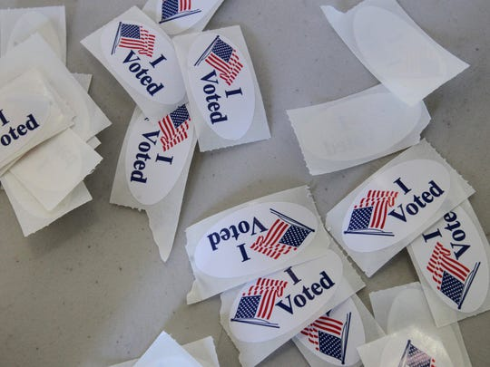 Voting stickers ready for the taking at a California polling site.