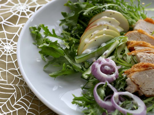 Chicken Apple Frisee Salad. From the Whitney in Detroit.  Jessica J. Trevino/Detroit Free Press