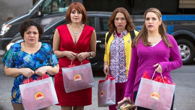 "(L-R) Sol Miranda, Lauren Adams, Ellie Kemper and Sara Chase in a scene from Netflix's ""Unbreakable Kimmy Schmidt."""