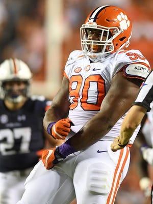 Clemson defensive lineman Dexter Lawrence (90) celebrates after sacking Auburn quarterback Jeremy Johnson (6) on Saturday, September 3 at Auburn's Jordan-Hare Stadium.