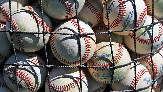 Baseballs stored in a net basket, are bursting to get out for practice at Victory Field.