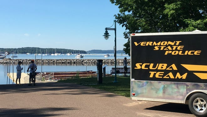 At the ready: A trailer associated with the Vermont State Police Scuba Team is parked on the Burlington waterfront near the U.S. Coast Guard station on July 4, 2018. The team was mustered as part of a multi-agency effort to locate Eric Plett, 41, of Weehawken, N.J. — who disappeared after his kayak capsized off Shelburne on July 2.