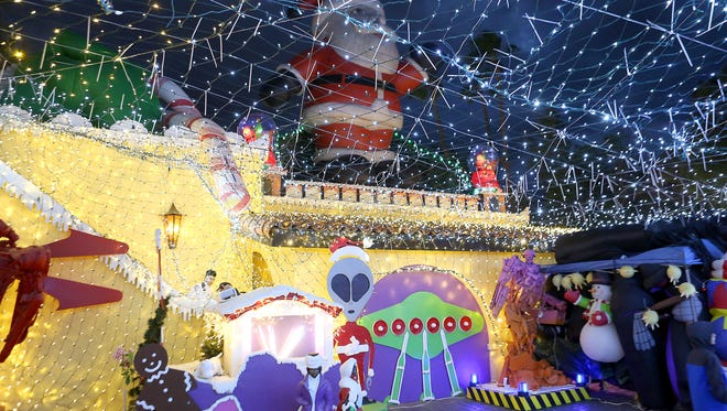 The Robolights display at artist Kenny Irwin Jr. home in Palm Springs reopened on Thanksgiving day for the holiday season.