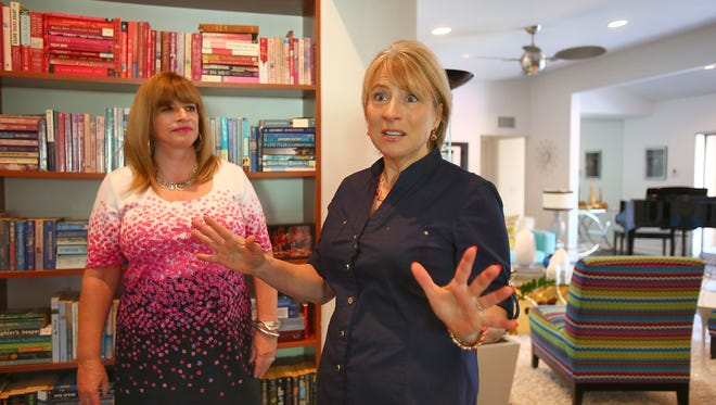 Home organization specialist Dorothy Breininger talks about her craft in Dee Dee Wilson Barton's, left, Palm Springs home, May 12, 2016.