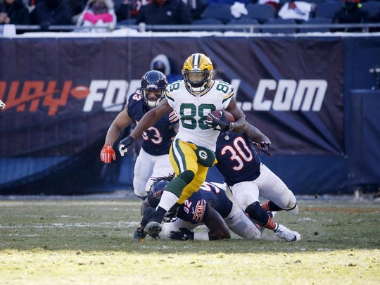 Packers running back Ty Montgomery rips off a 61-yard run against the Bears in Week 15. Montgomery finished with 162 rushing yards and two TDs.
