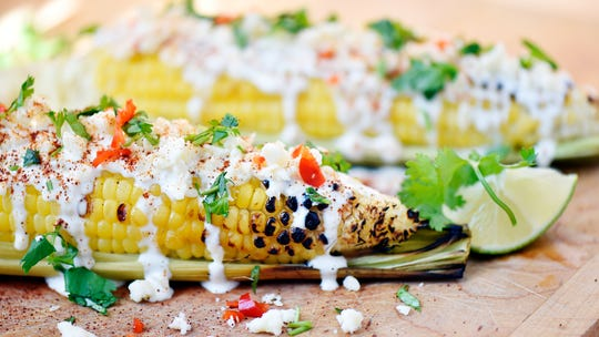 Elote (Mexican street corn), made with sweet corn from