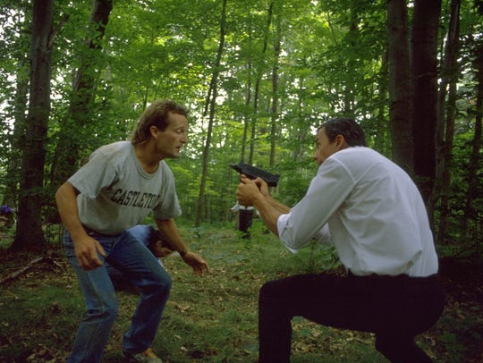 """The climatic forest showdown from """"Time Chasers,"""" with"""